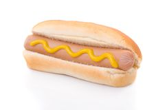 Mustard hotdog isolated on white Stock Photos