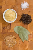 Mustard with ingredients Royalty Free Stock Photos