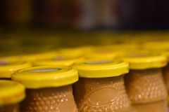 Mustard jars in the store.  royalty free stock photos
