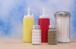 Mustard and Ketchup with Sugar Stock Image