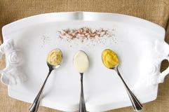 Mustard and mayonnaise Stock Photos