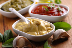 Mustard and other sauces Royalty Free Stock Photo