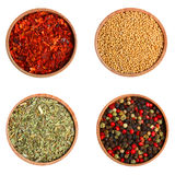 Mustard, paprika, mixture of peppers and provencal herbs Royalty Free Stock Image
