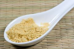 Mustard powder. On a white spoon Royalty Free Stock Images