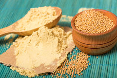 Mustard powder and seeds Royalty Free Stock Photography