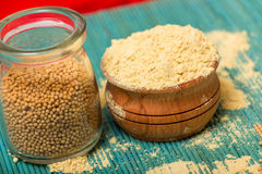 Mustard powder and seeds Stock Images