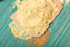 Mustard powder and seeds Stock Photography
