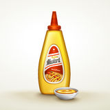 Mustard sauce ad. Plastic yellow sauce bottle with label, isolated white background, 3d illustration Stock Images