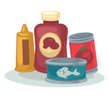 Mustard, sauce, tomato, tuna canned. Product: mustard, sauce, can of tomato and tuna canned. Conserved food: vegetable and tinned fish in metal container Stock Image