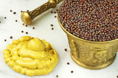 Mustard seed and mustard Royalty Free Stock Images