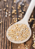 Mustard Seeds on a cooking Spoon Stock Images