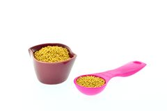 Mustard seeds in a cup and measuring spoon Royalty Free Stock Photography