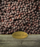 Mustard seeds labeled Stock Photography