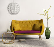 Mustard sofa in fresh interior living room. 3d rendering of a contemporary elegant luxury mustard sofa with pillows stock image