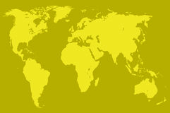 Mustard world map, isolated Stock Images