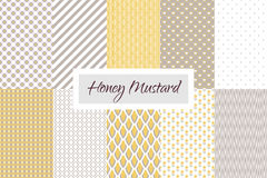 Mustard yellow and taupe geometric seamless. Vector pattern set. Classic lines, dots, hearts, scale and flowers Stock Photo