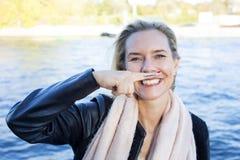mustasch målad kvinna royaltyfria foton