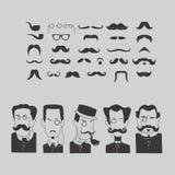 Mustasch och intellektueller Arkivbild