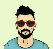 Mustasch-, skägg- och frisyrhipster stock illustrationer
