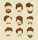 Mustasch-, skägg- och frisyrhipster royaltyfri illustrationer