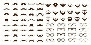 Mustasch-, skägg- och solglasögonstiluppsättning Royaltyfri Fotografi