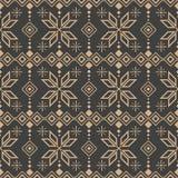 Musterüberprüfung der vorgeschichtes-Polygongeometriekreuzstern-Rahmenlinie Blume des Vektordamastes nahtlose Retro- Eleganter br vektor abbildung