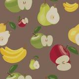 Muster Äpfel, Bananen und Birnen Lizenzfreie Stockfotos
