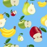 Muster Äpfel, Bananen und Birnen Stockfoto