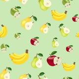 Muster Äpfel, Bananen und Birnen Lizenzfreies Stockfoto