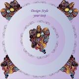 Muster auf rundem lila Hintergrund mit dekorativen Elementen lizenzfreie abbildung