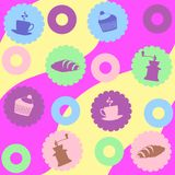 Muster in den hellen Farben für das Kaffeethema Var2 vektor abbildung