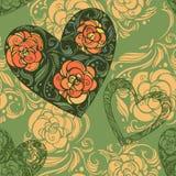 Muster der Aster blüht mit Blättern und Herzen Lizenzfreie Stockbilder