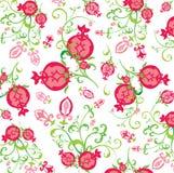 Muster der Granatapfelfrüchte und -blumen Stockfotos