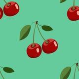 Muster der großen roten Kirsche mit Blättern auf Türkishintergrund Stockbild