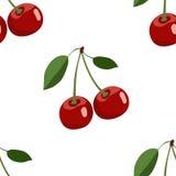 Muster der großen roten Kirsche mit Blättern auf weißem Hintergrund Lizenzfreie Stockfotos