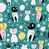 Muster der lustigen Katzen Lizenzfreies Stockfoto