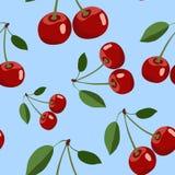 Muster der roten Kirsche mit Blättern auf blauem Hintergrund Stockbild