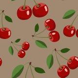 Muster der roten Kirsche mit Blättern auf braunem Hintergrund Lizenzfreie Stockbilder