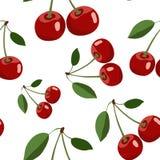 Muster der roten Kirsche mit Blättern auf weißem Hintergrund Lizenzfreie Stockbilder