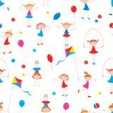 Muster der spielerischen kleinen Mädchen Stockbilder