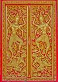 Muster in der traditionellen siamesischen Artkunst auf Tür. Lizenzfreie Stockfotografie