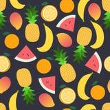 Muster der tropischen Frucht auf Dunkelheit Heller schöner nahtloser Hintergrund Vektorillustration in der Ebene Stockbilder