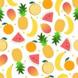 Muster der tropischen Frucht auf Weiß Heller schöner nahtloser Hintergrund Vektorillustration in der Ebene Lizenzfreie Stockfotos
