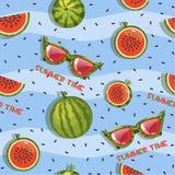 Muster der Wassermelone, der Scheiben und der Gläser, nahtloser Hintergrund Lizenzfreies Stockfoto