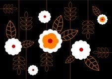 Muster der weißen Blumen auf schwarzem Hintergrund. Vektorkunst Stockfotografie