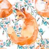 Muster der wild lebenden Tiere Fox und blühende Niederlassungen Vektor Stockfotos
