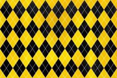 Muster des gelben und schwarzen Diamanten des Weinleseaquarells Stockfoto