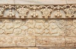 Muster des geschnitzten Marmors um Fatehpur Sikri, Indien Stockbilder