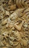Muster des Gottes geschnitzt auf Holz Lizenzfreie Stockbilder