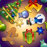 Muster des neuen Jahres mit Schneemann, Weihnachtsbaum, Lebkuchenmann Geschenk und Bell, Bogen Lizenzfreies Stockfoto